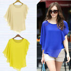 Womens Lady Asymmetric OL Career Casual Batwing Sleeve Chiffon Shirt Tops Blouse