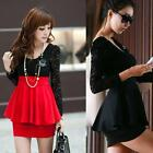 Women's Mini Dress Long Sleeve Lace Sexy Peplum Cocktail Party Skirt