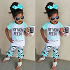 Casual Baby Girls Kids Summer Beach Outfits Clothes T-shirt Tops+Pants 2pcs Sets