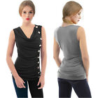 ISASSY Womens T Shirt Sleeveless Loose Bandage Buttoned Blouse Top Fold Vest