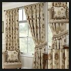 Porto Lined Curtains Natural Damask Floral Vintage Ready Made Pair Pencil Pleat