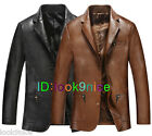 Mens Leather Coat Classic Blazer Business Jacket Motorcycle Outerwear Classic