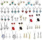 Exquisite Mix Women's Crystal Rhinestone Necklace Pendant Earrings Jewelry Sets