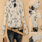 Womens Summer Chiffon Bird Print Tops Casual Long Sleeve T Shirt Blouse