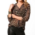 Fashion Sexy Women's Leopard Chiffon Blouse Casual Loose Long sleeve Shirt Tops