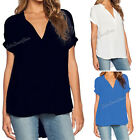 Fashion Women Lady Short Sleeve V-neck Chiffon Loose Tops Blouse Casual Shirt