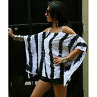 NEW Women Summer Fashion Loose Off-shoulder Striped Blouse Casual Tops T-shirt