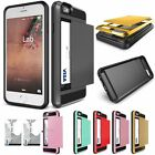 Card Pocket Slide ShockProof Slim Wallet Case for iPhone 5 5s 5C SE 6 6s Plus