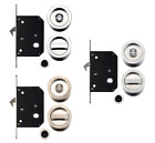 Sliding Pocket door bathroom lock set c/w 2 flush pulls & end finger pull Chrome