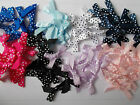 30 x spotty dotty polka dot  ribbon bows 6mm wide ribbon