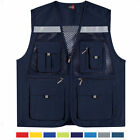 Mens Mesh Multi Pocket Vest Utility Fishing Hiking Hunting Vests US S~XL 453 UK