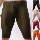 Mens Sexy See-Through Sheer Shorts Underpants Gym Leggings Thong Underwear Brief