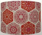 Burnt Orange and Beige Moroccan Geometric design Linen style Lampshade / Pendant