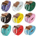 Unisex Men's Women's Casual Braided Elastic Stretch Fabric  Leather Buckle Belts