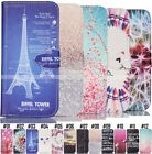 Pattern PU Leather Holder Stand Card Flip Cover Protective Case Back For Samsung