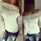 UK Ladies Lace Tops Flore Tee Long Sleeve Shirt Casual BlouseT-shirt Size 6-16