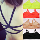 Women Strappy Back Cross Top Bralet Bustier Vest Crop Ladies Bra Bandeau Blouse