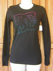 DC Shoes Blue Red Distressed Logo Black Long Sleeve T Shirt Top NWT Pacsun Box29