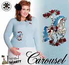 HELL BUNNY Carousel ~ Blue Rockabilly Vintage Cardigan ~ Retro Pinup 50s Floral