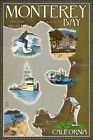Monterey Bay, California - Map and Icons (Art Print - 4 Sizes)