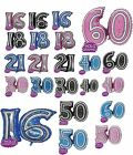 "31"" JOINTED NUMBER FOIL BALLOONs 16 18 21 30 40 50 60 IN PINK BLUE AND BLACK"