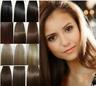 15-28'' CLIP in REMY REAL HUMAN HAIR EXTENSIONS STRAIGHT 23 COLORS FREE SHIPPING