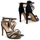 WOMENS LADIES DOLCIS HIGH HEEL STRAPPY CROSSOVER BARELY THERE SANDALS SHOES SIZE