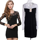 Women Slim Thin Stitching Lace Package Hip Bodycon Dress Bottoming Skirt