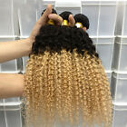 Ombre 100g Brazilian Virgin Kinky Curly Wave Human Hair #1b/27 Weft Extensions