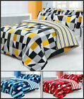 NEW Reversible Duvet Set w/ Pillowcases Red Blue Black Yellow Single Double King