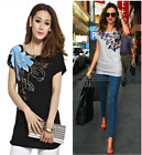 Womens Ladise Soft Flower & Casual Bow-Tie Print Cap Short Sleeve Top T-Shirt