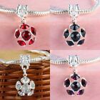 Lot Crystal Austrian Plum Flower Floral Charm European Dangle Pendant Bead Craft