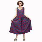 Women Vintage Sleeveless Elephant Print Casual Dress Elastic Waistband Sundress