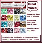 1000  QUALITY RESIN FLAT BACK  RHINESTONES  DIAMANTE GEMS FOR NAIL ART / CRAFTS