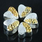 Heart Shape Half Silver Gold Plated Alloy Round Spots Carved Loose Beads Jewelry