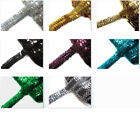 "8 colours- 1""(2.5cm) wide/3 Row Shiny round Sequin Stretch Elastic Trim Meter(s)"