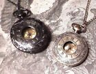 STEAMPUNK Brass or Gunmetal black/silver POCKET WATCH NECKLACE Damask scroll G2 image