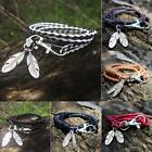 Fashion Leather Wrap Braided Wristband Cuff Punk Mens Women Bracelet Bangle New