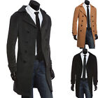 NEW Mens Slim Wool Trench Coat Winter Long Jacket Double Breasted Overcoat S-XL