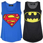Womens Superman Batman Print Ladies Sleeveless Racer Muscle Vest Tops Blouse MY