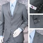 Get Up Mod Retro Single Breasted Slim Fit Dogtooth Suit Blue