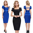 Vintage Bodycon Slim Wiggle Dress OL Business Office Cocktail Party Pencil Dress
