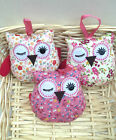 NEW PADDED FABRIC FLORAL OWL BIRD DECORATION GIFT FOR A FRIEND - CHOICE OF 3