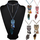 Fashion 3D Owl Jewelry Pendant Chain Crystal Choker Chunky Statement Necklace