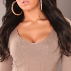 NEW SEXY RIBBED LADIES V-NECK KNIT JUMPER SWEATER 8 10 12 14 PARTY/CLUB/CASUAL