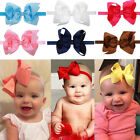 Newest aby Girls Hairband Bow Soft knot Elastic Band Headband Flower Hair Acces