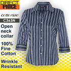 Women Shirt Top Blouse Eclipse Stripe Cotton Business Casual Office Formal Navy