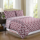 Sierra Burgundy/White Silky Soft Reversible Duvet Cover - 100% Egyptian Cotton