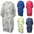 Ladies Womens Lagenlook Layering Floral Leaf Print Scarf Tunic Shirt Italian