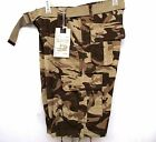 M Society Kahki Camo  Men's Chief  Drawstring Legs  Belted Cargo Shorts 808